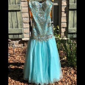 "Alyce Paris Blue Strapless ""Crystal Jeweled"" Dress"